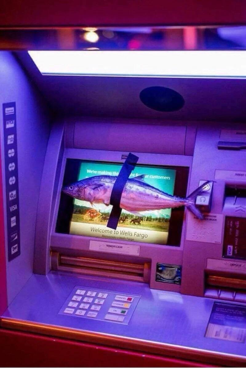 банкомат, рыба