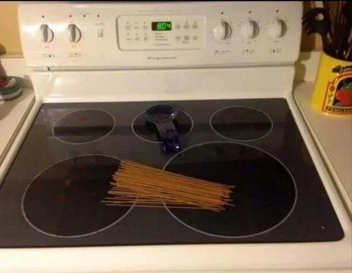 плита, макароны