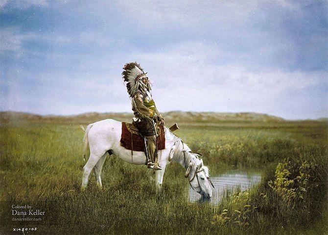 индеец, конь, водопой