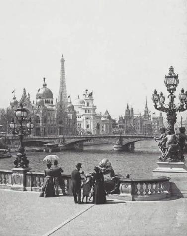 Вид с моста Александра III на международные павильоны. Всемирная выставка в Париже, 1900