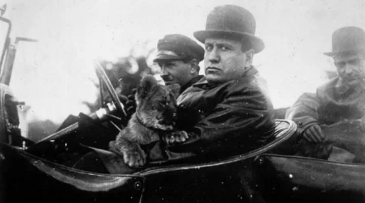 Муссолини, автомобиль, лев