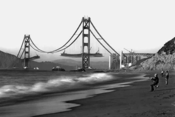 """Строительство моста """"Золотые ворота"""" в Сан-Франциско"""