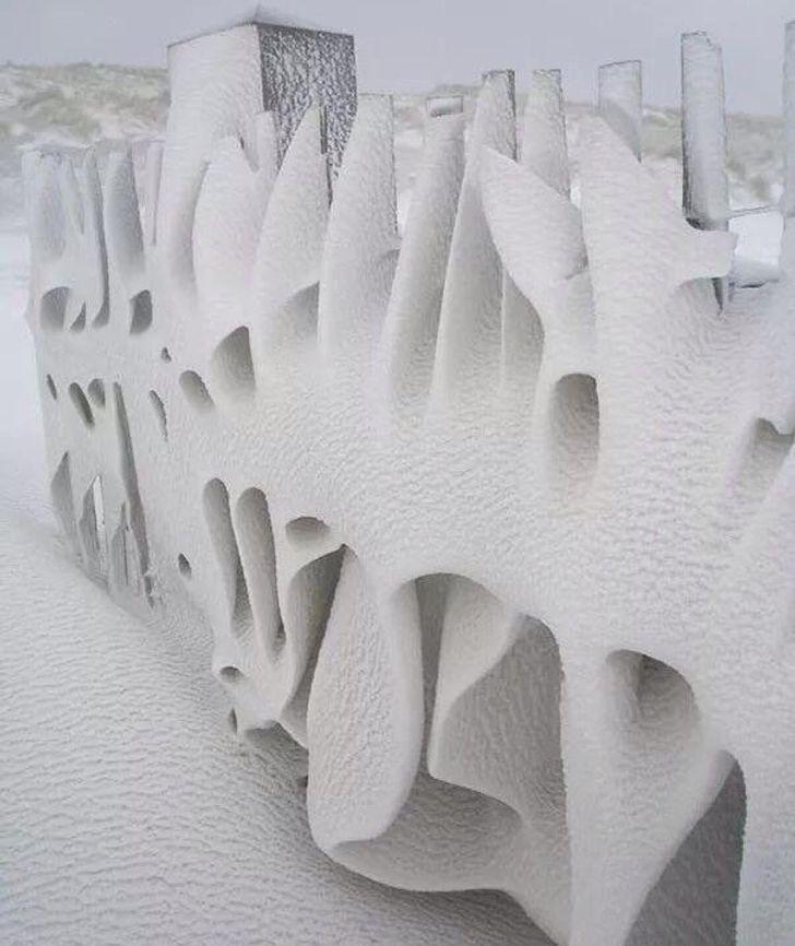 снег, забор