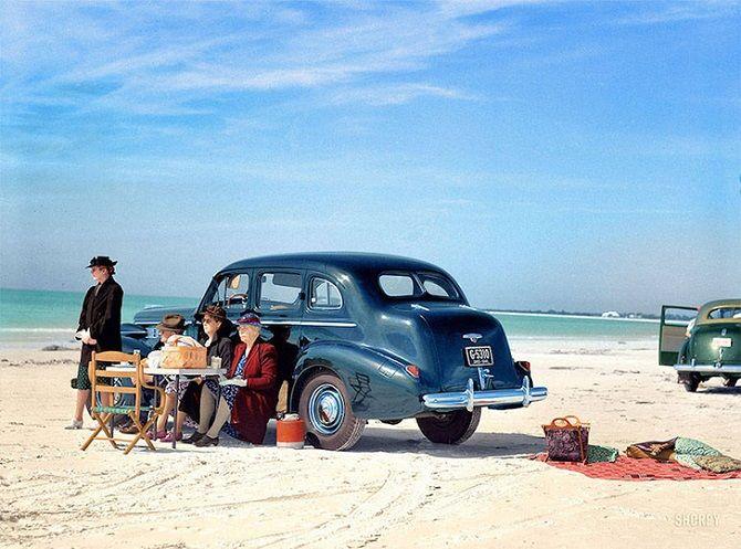 пикник, машина, океан