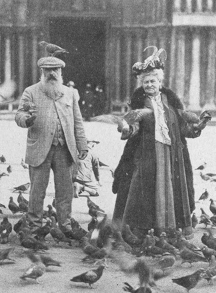 художник, жена, голуби