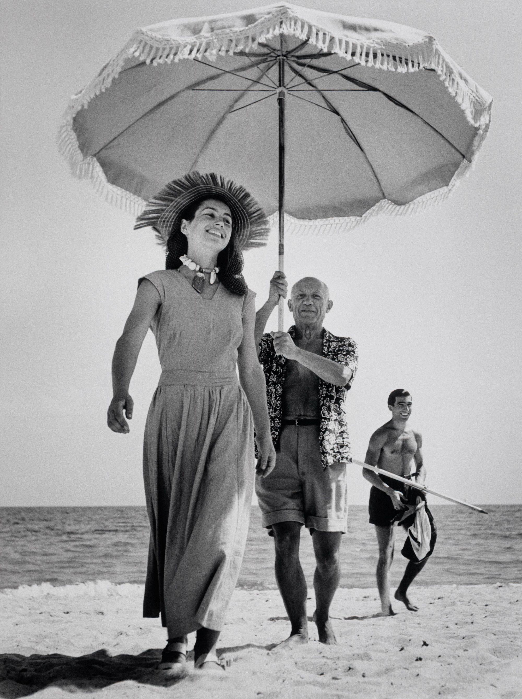 художник, дама, пляж