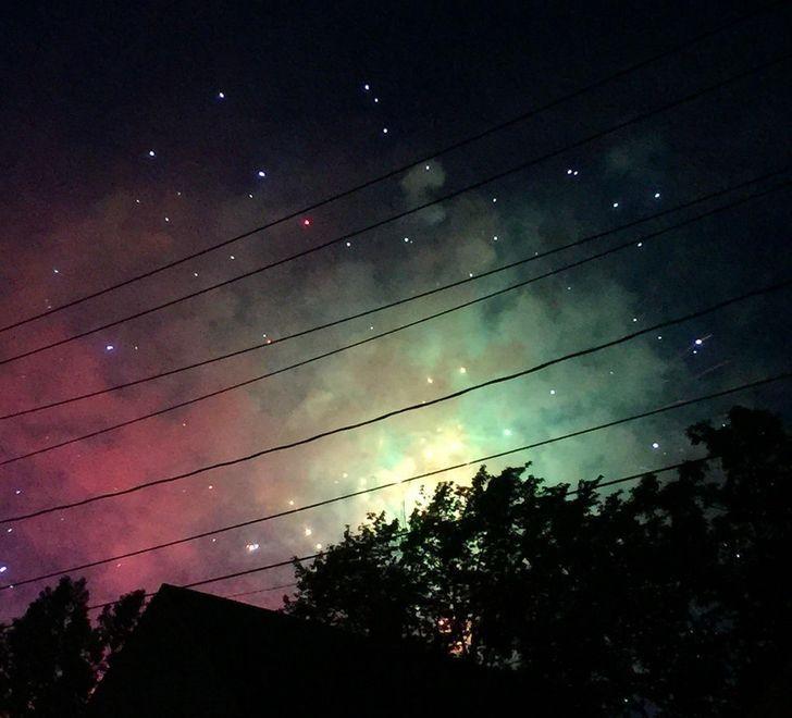 салют, небо, звезды