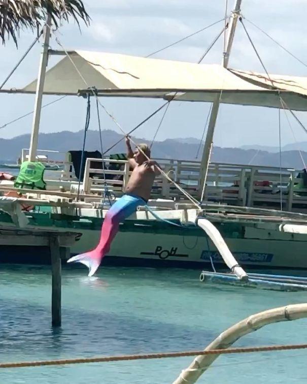 мужчина, русалка, вода
