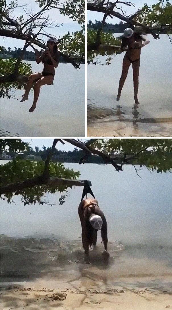 девушка, дерево, падение, трусы