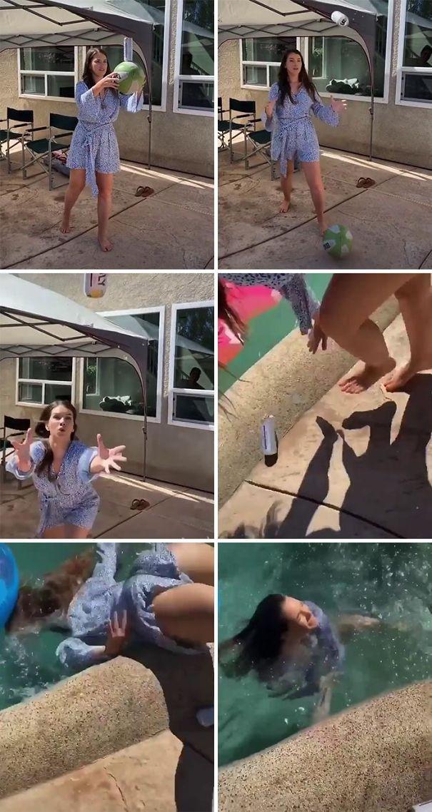 девушка, мяч, падение, бассейн