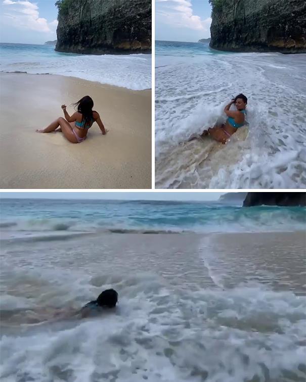 вода, девушка, съемка, волна