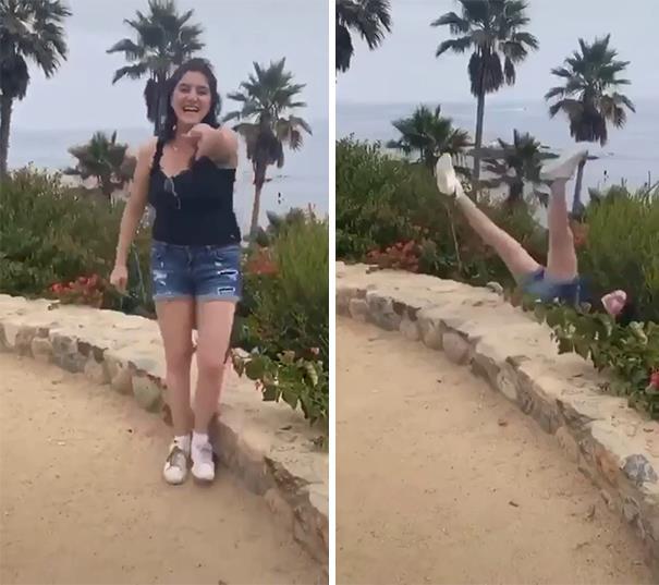 девушка, падение