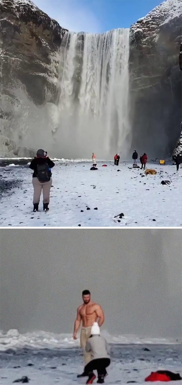 съемка, водопад, холод, мужчина