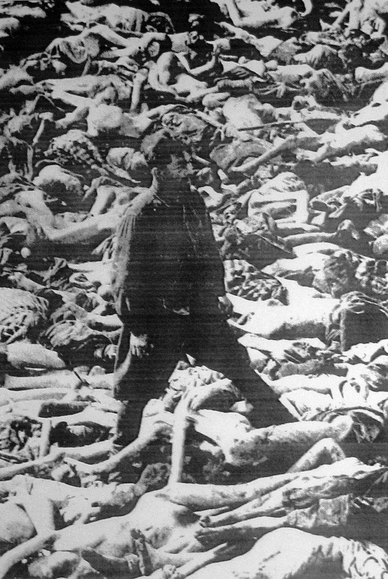 Немецкий врач - пособник нацистов Фриц Кляйн на фоне своих жертв