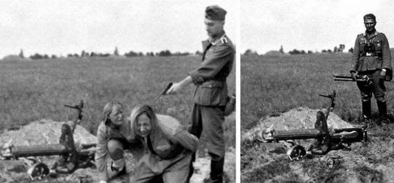 Фотофейк о расстреле немецким солдатом рыдающих советских пулеметчиц