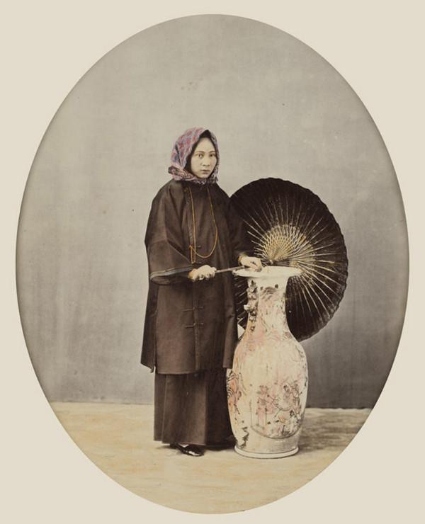 женщина, Китай, зонт