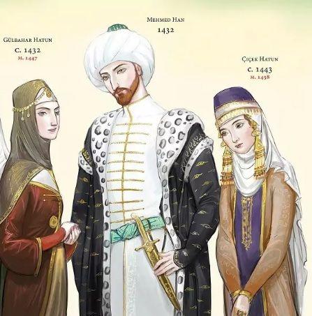 Мехмед с женами Гюльбахара и Саттишах