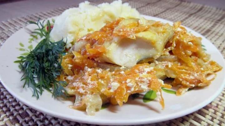минтай, рыба, овощи, гарнир, блюдо