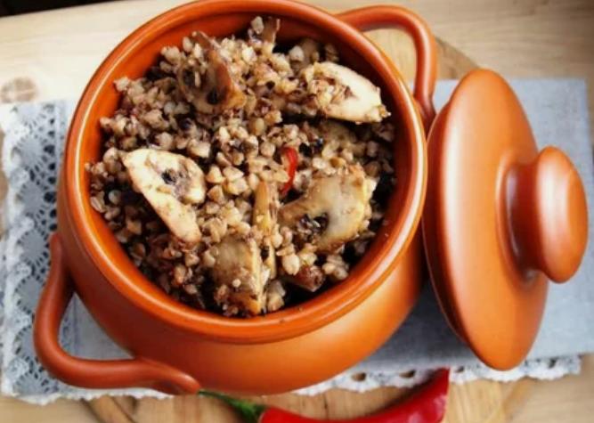 греча, грибы, горшочек, блюдо