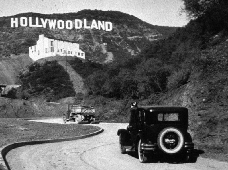 Hollywood, автомобиль, надпись