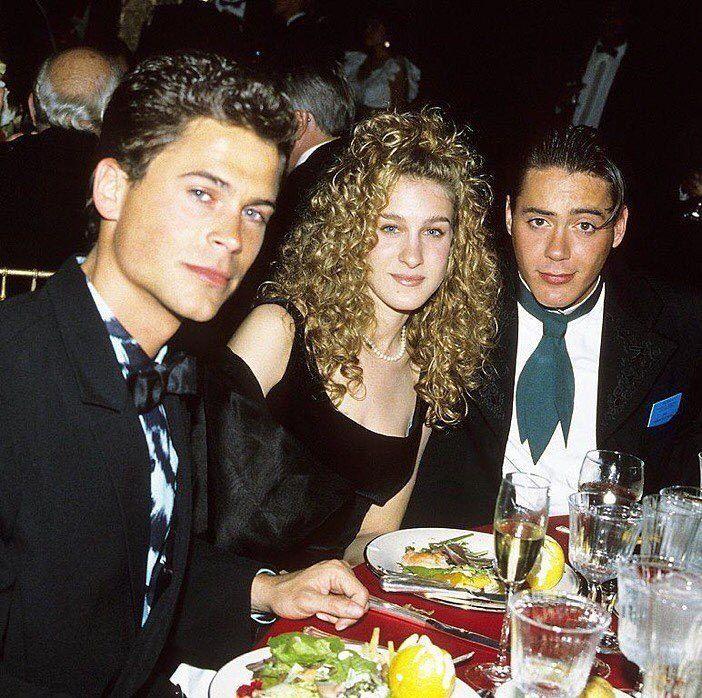Джессика Паркер с Робертом Дауни и Робом Лоу в 1988 году
