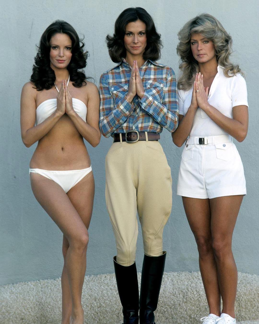 Жаклин Смит, Фэрра Фосетт и Кейт Джексон в 1976 году