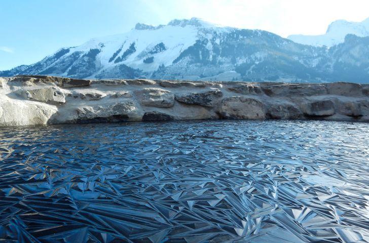 пруд, лед