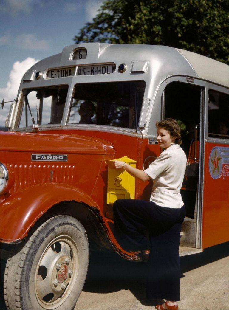 автобус, почта, женщина