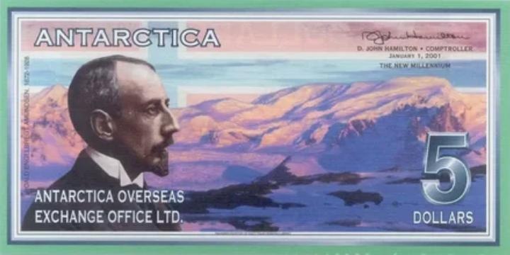Антарктическая валюта стоимостью 5 долларов