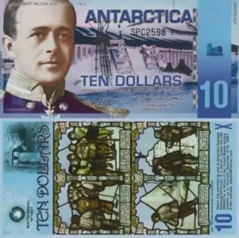 Антарктическая валюта стоимостью 10 долларов