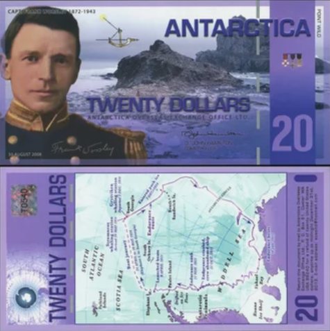 Антарктическая валюта стоимостью 20 долларов