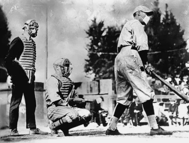 Бейсболисты в разгар эпидемии испанского гриппа, 1918 год