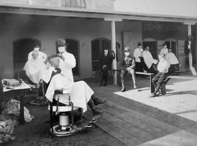 Парикмахерская под открытым небом, отография сделана в Калифорнийском университете в Беркли в 1919 году