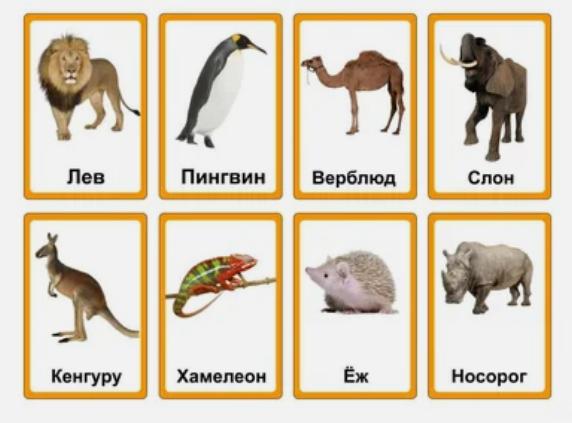 """Карточки для игры """"Крокодил"""" на тему животные"""