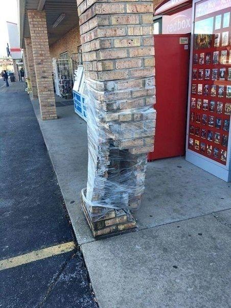 стена, колонна, кирпич, скотч